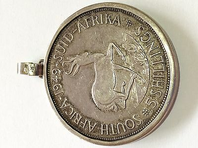 1949 South African Silver 5 Shillings In .925 Silver Pendant