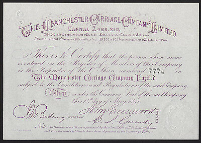Manchester Carriage Co. Ltd., £10 'C' share, 1879