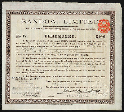 Sandow Ltd., £100 Debenture, 1899, founded by Eugen Sandow, famous 'strongman'