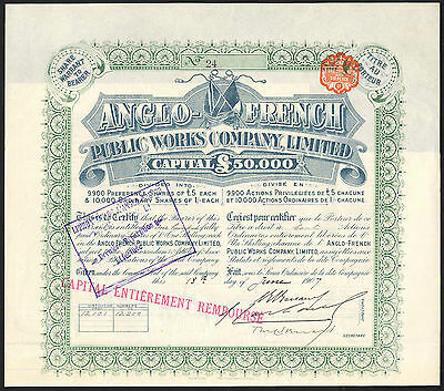 Anglo-French Public Works Co. Ltd., 1 shilling shares, 1907