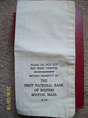 Vintage Never Used, Never Sewn , Money Bag, First National Bank, Boston,