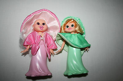 Lot 2 CBS Light Up Doll 1985 Design House Green Pink Vtg Toy Figure Working EUC