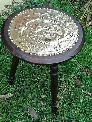 Antique Arts and Crafts Tripod Stool Side Table Repousse Brass Dragon Panel