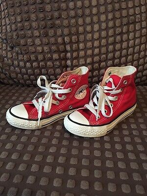Kids Red Hi Top Converse All Star Trainers. Size Uk 10