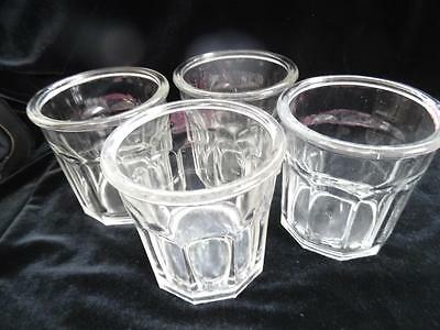 4 Superb Vintage French Faceted Glass Jam / Jelly Jars