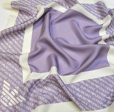 SALE Emporio Armani pure silk fabric, Lilac, for scarf Made in Italy. 0.62x0.62m
