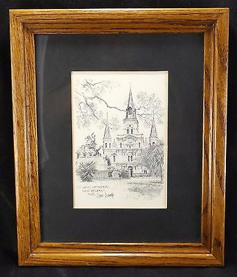 1976 Don Davey Print St. Louis Cathedral New Orleans Matted and Framed