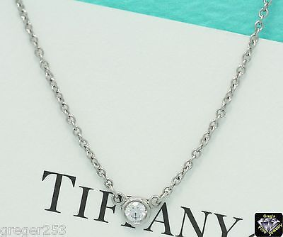 "GUARENTEED AUTHENTIC TIFFANY & CO. PLATINUM ""DIAMONDS BY THE YARD"" Pendant .12TW"