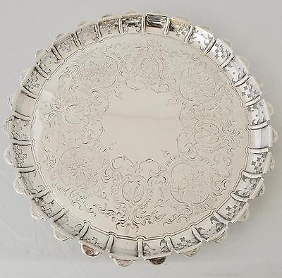 19th C ENGLISH STERLING SILVER SALVER/TRAY HENRY WILKINSON LONDON 1872