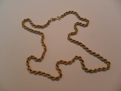 "Vintage 9Ct Solid Gold Hollow Rope Link Neck Chain,16"" Long,approx 3.5 Gms."