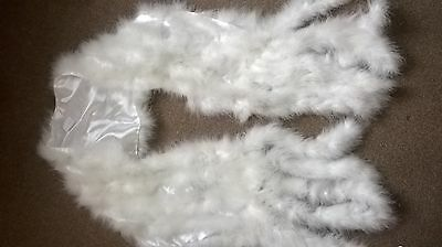 Real Feather Hollywood vintage glamour tasselled shawl wrap white prom wedding