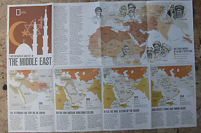 The Middle East / Mideast in Turmoil National Geographic Map / Poster Sept 1980