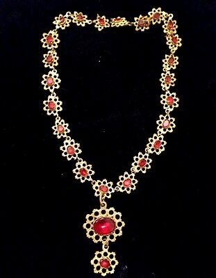 Antique Victorian Red Glass & Brass necklace -1865