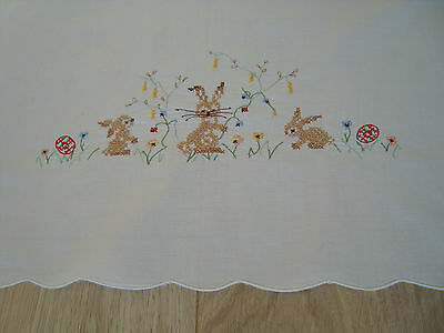 Vintage German Easter Embroidered Linen Tablecloth table runner with bunny