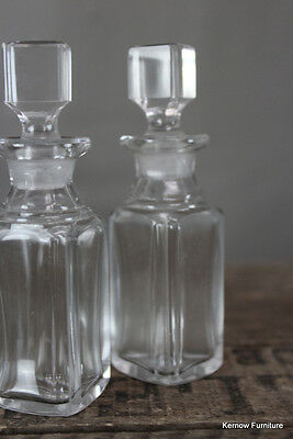 Pair Small Vintage Clear Glass Apothecary Chemist Scent Bottles
