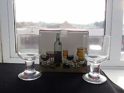 TWO VINTAGE DARTINGTON CRYSTAL PORT GLASSES - Boxed