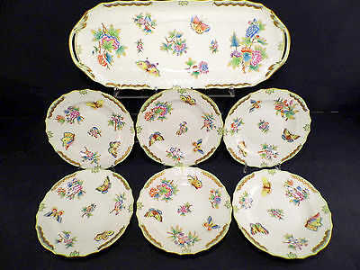 Herend Queen Victoria Rocaille Sandwiches Set For Six,7 Pcs.excellent Condition