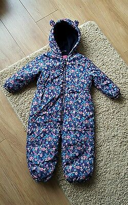 Next Baby Girls Floral Snowsuit Pramsuit with ears 9-12 months dark blue ditsy