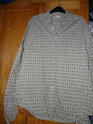 true vintage 70s style Pringle shirt, beige pattern,  16 inch
