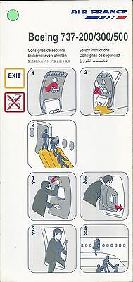 Air France  Boeing  B737-200/300/500  Safety Card Consigne De Securite 08-99