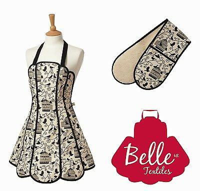 "Belle Textiles ""Birdcage"" Apron Oven Gloves Tea Cosy Tea Towel - Made in the UK"