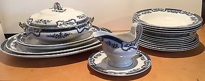 Antique Blue/White Dinner Set LOSOL WARE by Keeling & Co(Late Mayers) c1891-1909