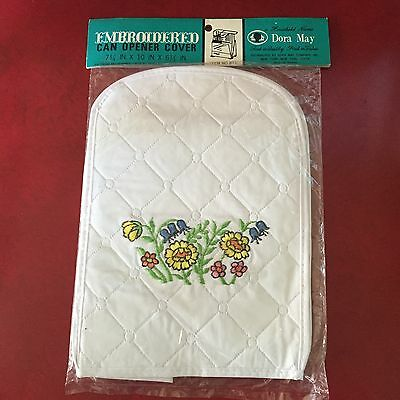 NOS Dora May Vintage Embroidered Kitchen Appliance Cover for Can Opener
