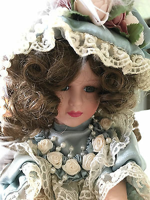Tess Porcelain Doll on Music Box Show-Stoppers Vintage Pale Blue Excellent Cond