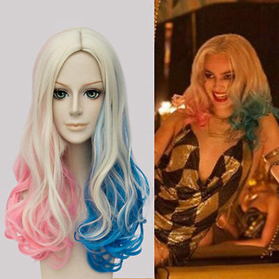 Long Curly Pink Blue Blonde for Batman Suicide Squad Harley Quinn Cosplay wig+