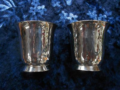 Vintage French Silver-plate RAVINET D'ENFERT metal blanc small Wine Cups