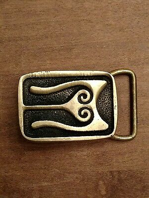 "BTS Abstract Solid Brass Belt Buckle   2.0"" x 1.5"""