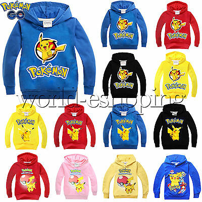 3-10Y Pokemon Pikachu Kids Boys Girls Hoodies Sweatshirt Casual Pullover Outwear