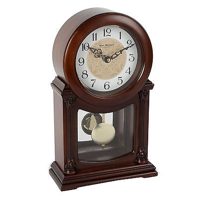 Vintage Style Mahogany Arabic Dial Pendulum Mantel Table Desk Clock 33x20cm