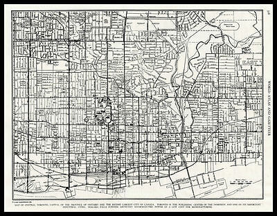City of TORONTO Ontario Canada 1946 antique detailed view Plan Map