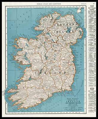 IRELAND & NORTHERN IRELAND Europe 1946 antique color lithograph Map