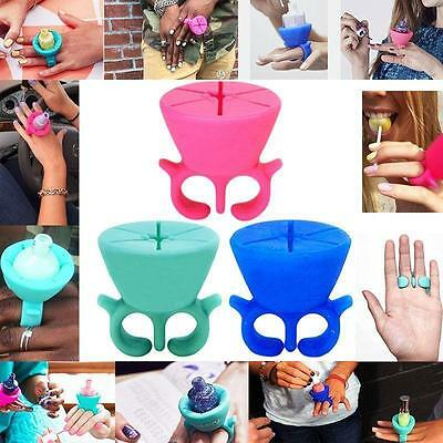 Silicone Finger Wearable Nail Polish Bottle Holder Universal Fits Tweexy Makeup