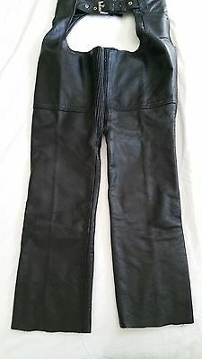 Motorcycle Chaps Black Leather Riding Size XS Mens or Ladies New With Tags UNIK