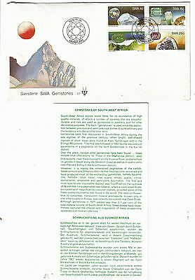 South West Africa 1979 FDC Gemstones - set of 4 used stamps + plus insert