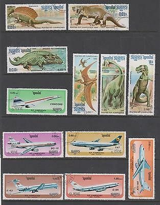 Kampuchea 1986 - Prehistoric Animals & Aircraft - 12 used