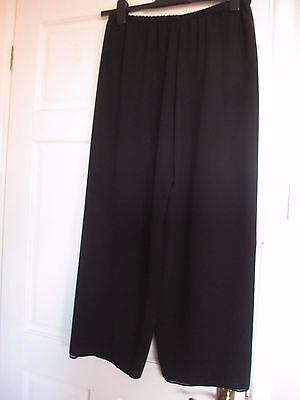 Black Wide Leg Chiffon Trousers (Palazzo) Size approx. 16 - Great Condition