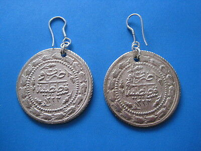 SILVER EARRINGS WITH OTTOMAN - TURKEY COINS XIX C.A.D. 23.6 gr. Size 36 mm..