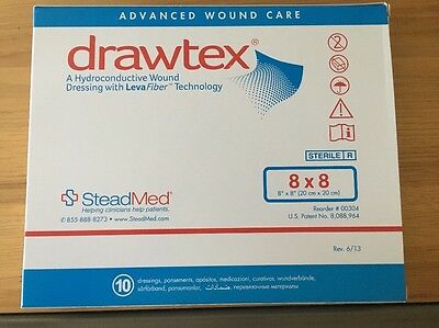 """Drawtex with Levafiber 8"""" X 8"""" (1 Box Of 10 Dressings) expire after 02/2019"""