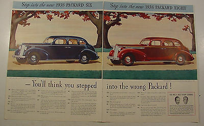 1938 Packard SIX & EIGHT Touring SEDAN 2 Page Color Ad