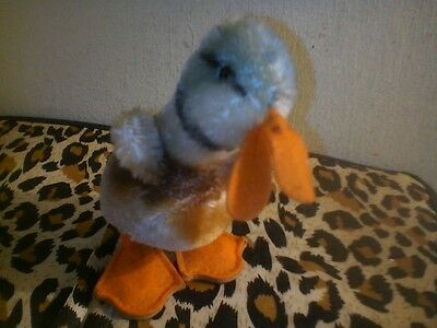 """steiff old 1950/60's mohair duck with ID button 4"""" high"""