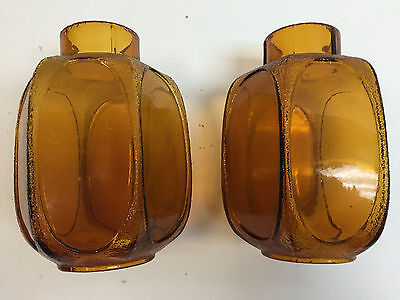 Vintage 1940's (?) Amber Glass Shades