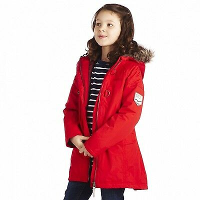 BNWT Regatta Greta Girls Waterproof Insulated fur Hooded red Jacket ~ aged 12-14