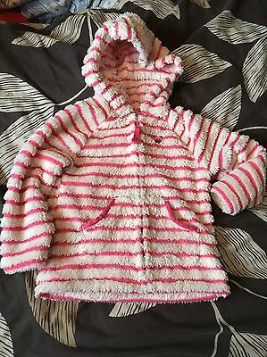 Girls Next Cream And Pink Stripe Fluffy Cat Design Hooded Jacket Age 2-3 Years