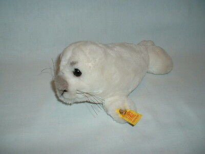 STEIFF RARE WHITE COSY SEAL PUP Cuddly Soft Plush Toy (GERMANY/SEALIFE/ANIMALS)