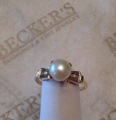 Antique 14k 7mm Cream Akoya Cultured Pearl & 2 Rose Cut Diamond Ring size 6.25