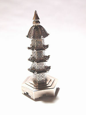 Chinese Pepperette Salt Pagoda 1890's(?) Marked WC 900 Silver (90%)